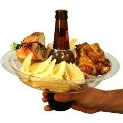 Reusable Food  Beverage Holder - Such a great idea for camping, parties and tailgating! Wish I had these a few weeks ago for grad party...