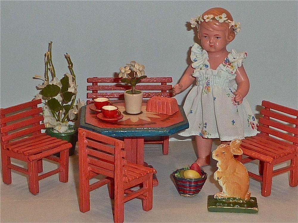 Süße * Österliche Puppenszene * Schildkröt Mädchen und ihre hübschen Möbelchen