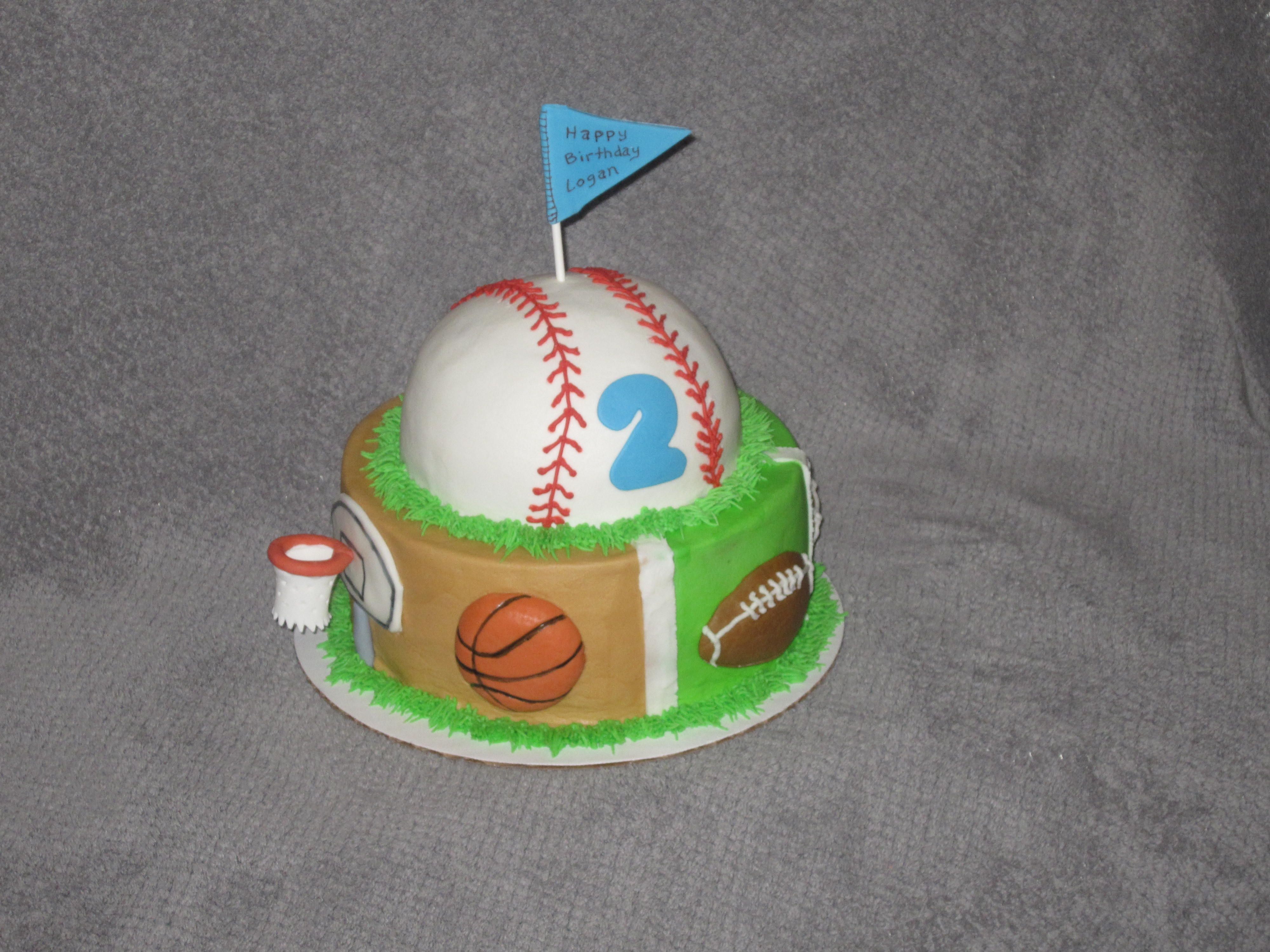 Sports themed birthday cake with Baseball Basketball and