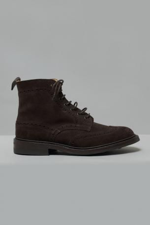 Suede Brogue Boots, Dainite sole British made, brown coffee colored. Fitting 5.