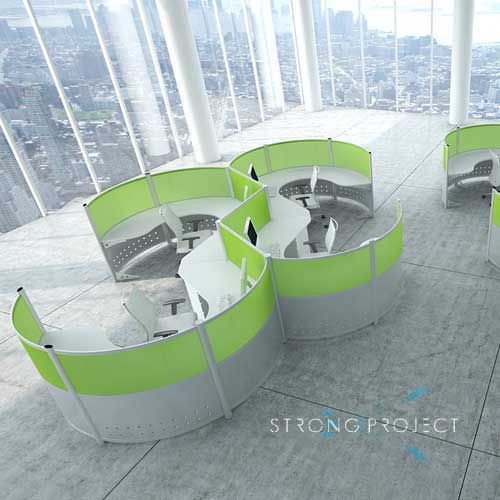 for a truly unique futuristic looking office space explore our modern curved cubicles and ask us to help you testfit them to your open office footprint