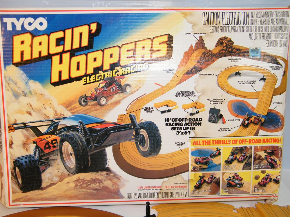 Vintage 1980s Tyco Racin Hoppers Slot Car Track Set Parts Or