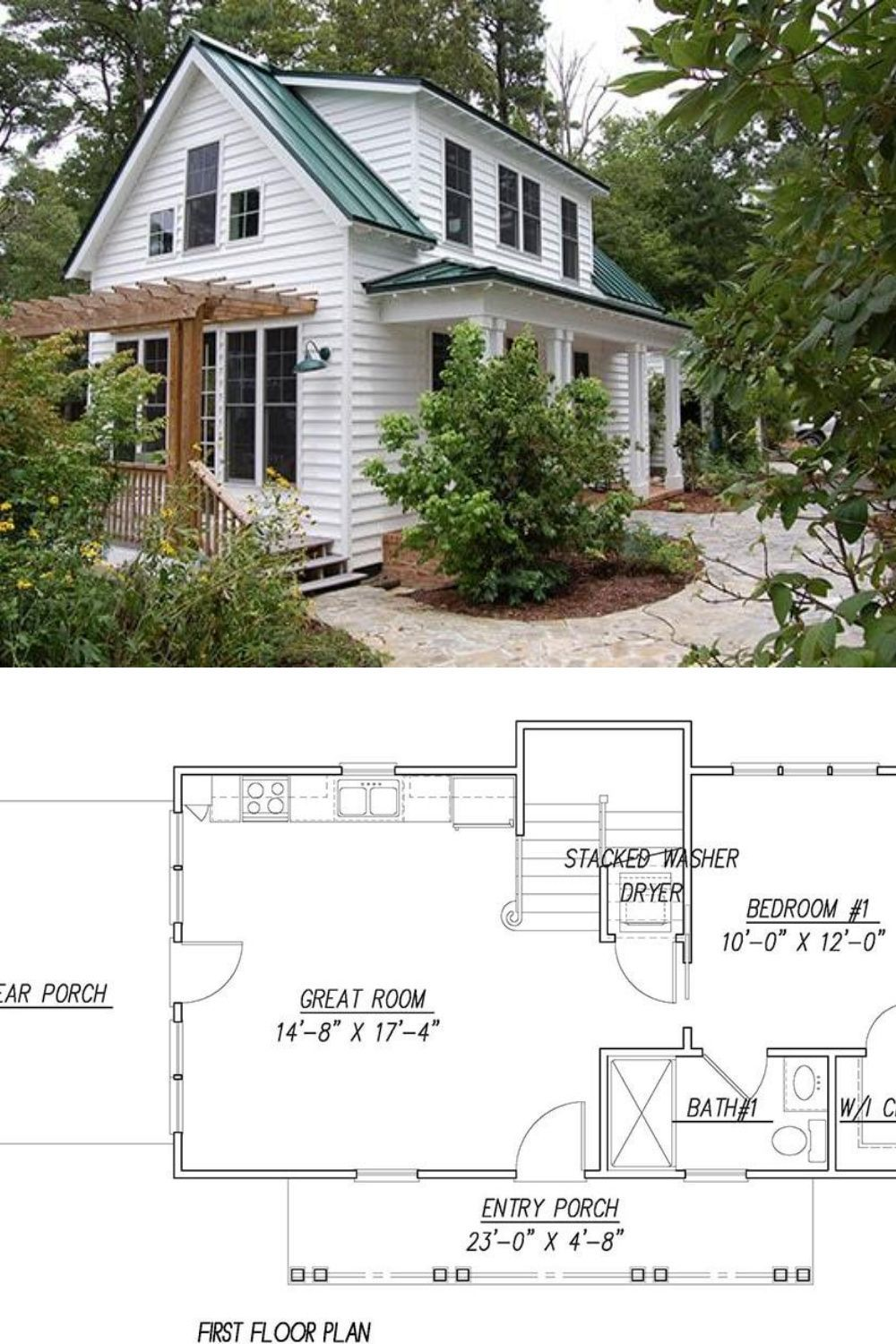 3 Bedroom Two Story Katrina Cottage For Corner Lot Floor Plan Cottage Bungalow House Plans Small Cottage House Plans Bungalow House Plans