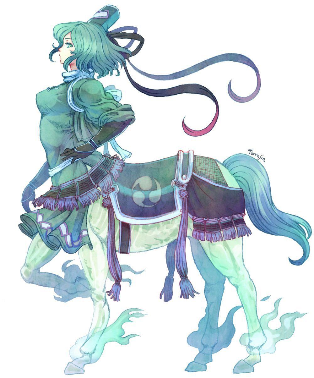 1girl centaur colored_pencil_(medium) gloves green_eyes