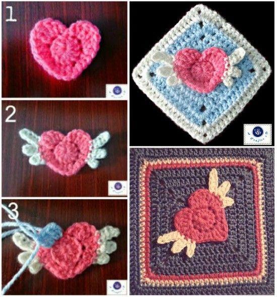 Angel Heart Crochet Granny Square Free Pattern | Pinterest ...