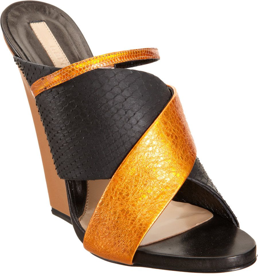 a817ca2742a Narciso Rodriguez Python Crisscross Wedge Sandal in Yellow (black)