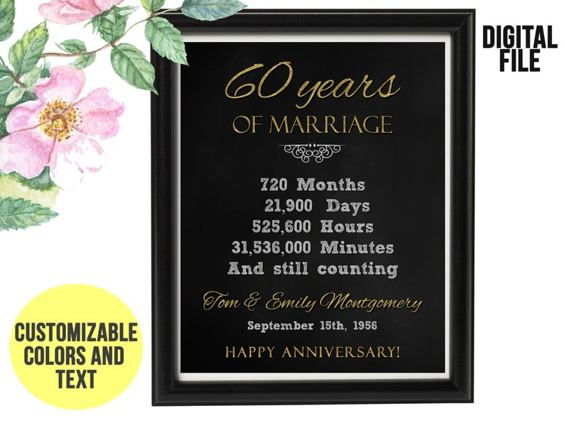 60 Year Wedding Anniversary Gift 60th Anniversary PRINTABLE Digital File, Gift for Couples, 60th Anniversary Chalkboard, ANY YEAR #20thanniversarywedding