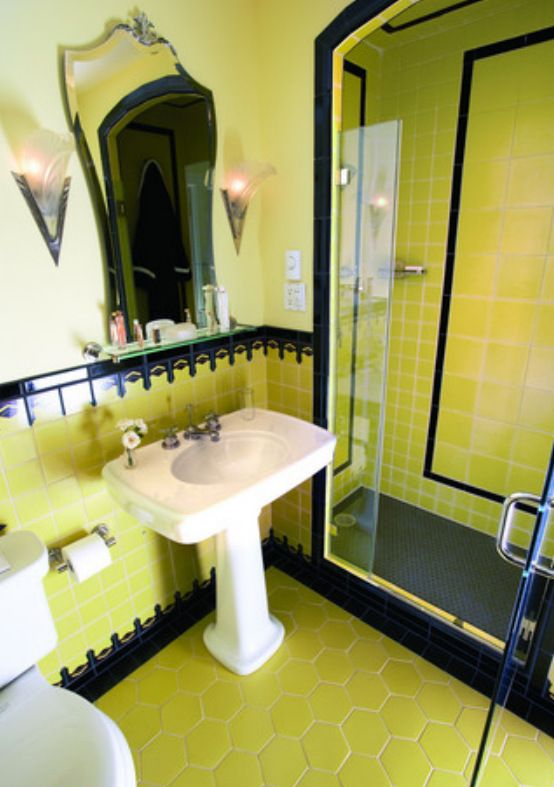 Retro Bathroom With Back And Mustard Yellow Tiles Art Deco