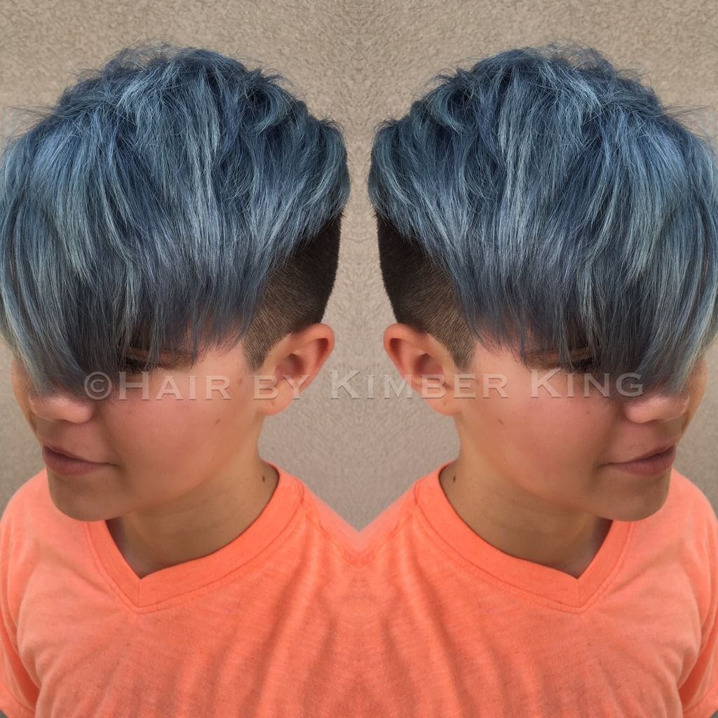 Undercut And Steel Blue Color Pre Lightened To Level 10 Toned With