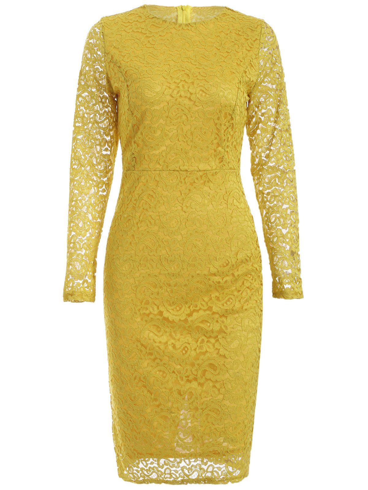 Long sleeve lace cutwork dress in yellow sammydress cute