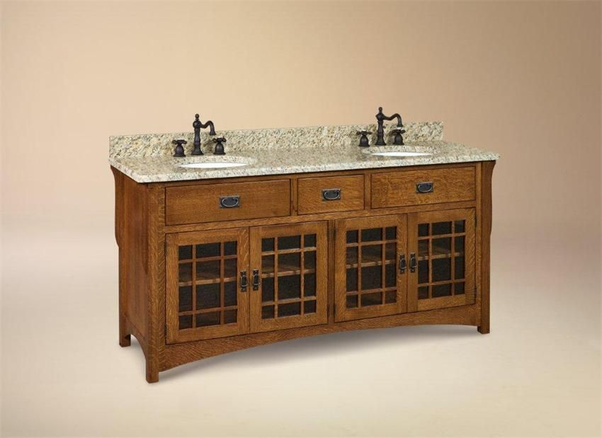 "Custom Bathroom Vanities Halifax amish 72"" lancaster mission bathroom double vanity cabinet"