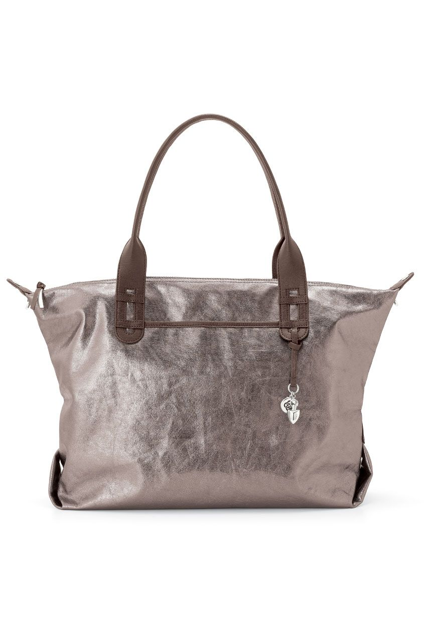 Stella Dot How Does She Do It Tote Pewter Metallic Stelladot Heathermoytote Bag With Zip Closure