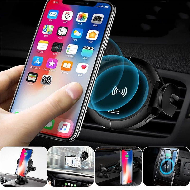 5w Qi Wireless Charging Infrared Induction Auto Lock Car Holder For Iphone X 8 Mobile Phone