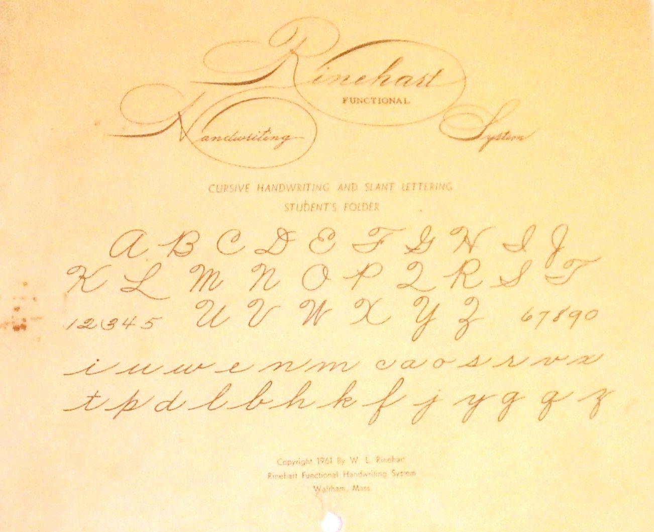 The Rinehart Handwriting System Cursive Writing Handwriting Student Folders [ 1058 x 1302 Pixel ]