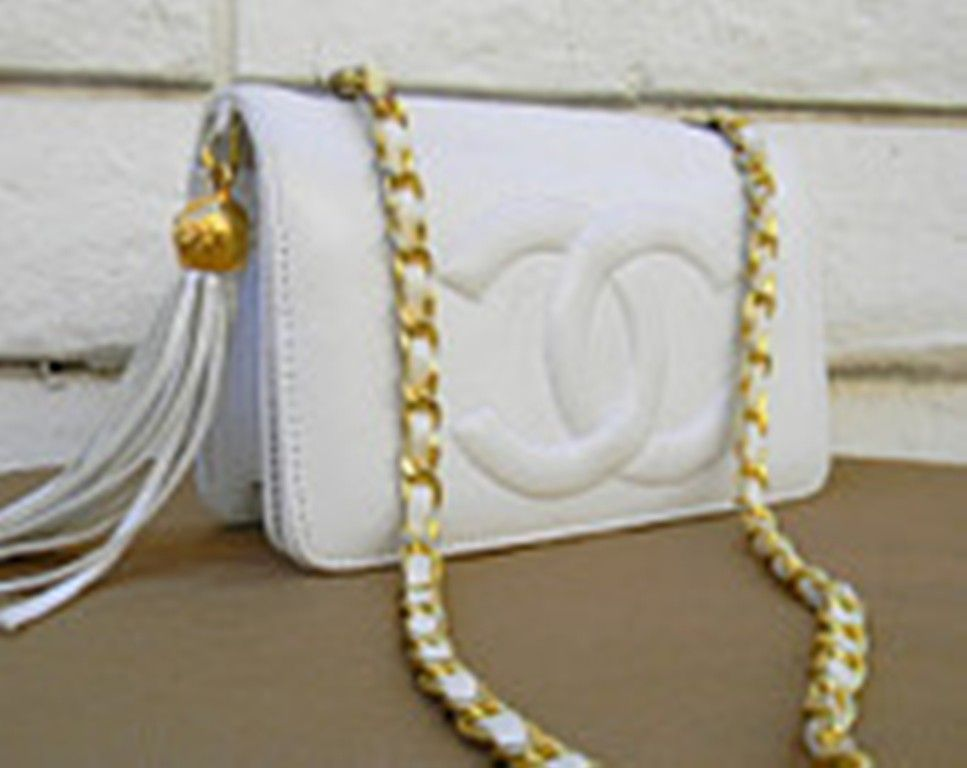 Chanel White Leather Disco Purse with Gold Chain Strap