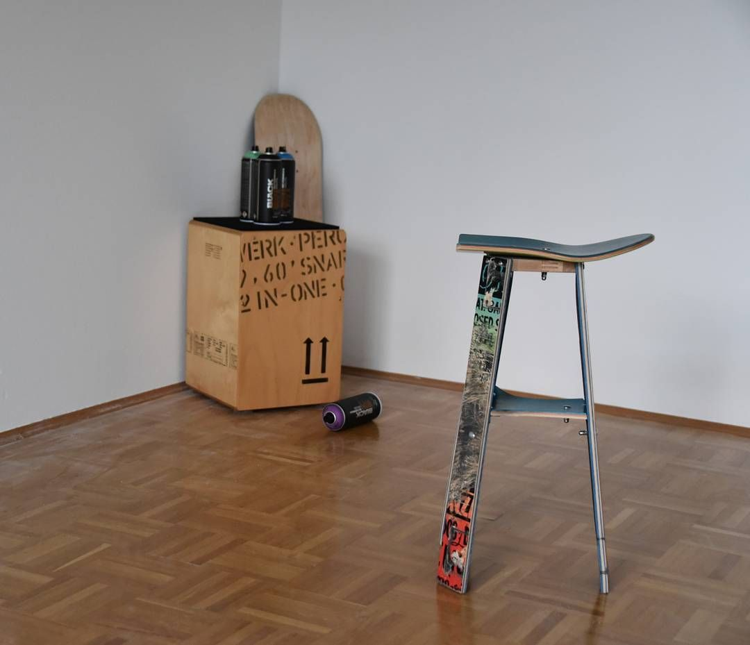 Skateboard Stool With Minimalistic Design. #selfmade #recycled #upcycle # Skate #skateboard #urban #spraycan #cajon #schlagwerk #percussion #drumming  #black ...