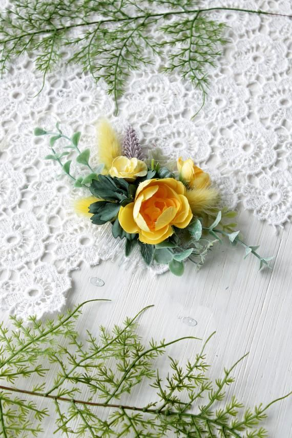 Yellow flower comb, Wedding floral hairpiece, Spring wedding, Girl hairpiece, Bridesmaid headpiece,