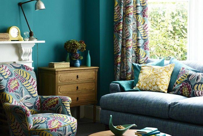 Home furnishings ideas green small living room walls flower pattern