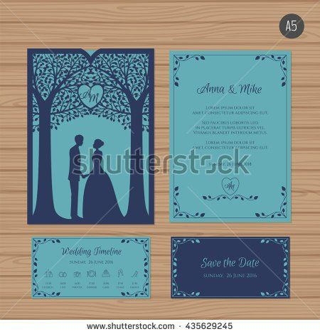 Wedding invitation with bride and groom and tree paper lace wedding invitation with bride and groom and tree paper lace envelope template wedding stopboris Images