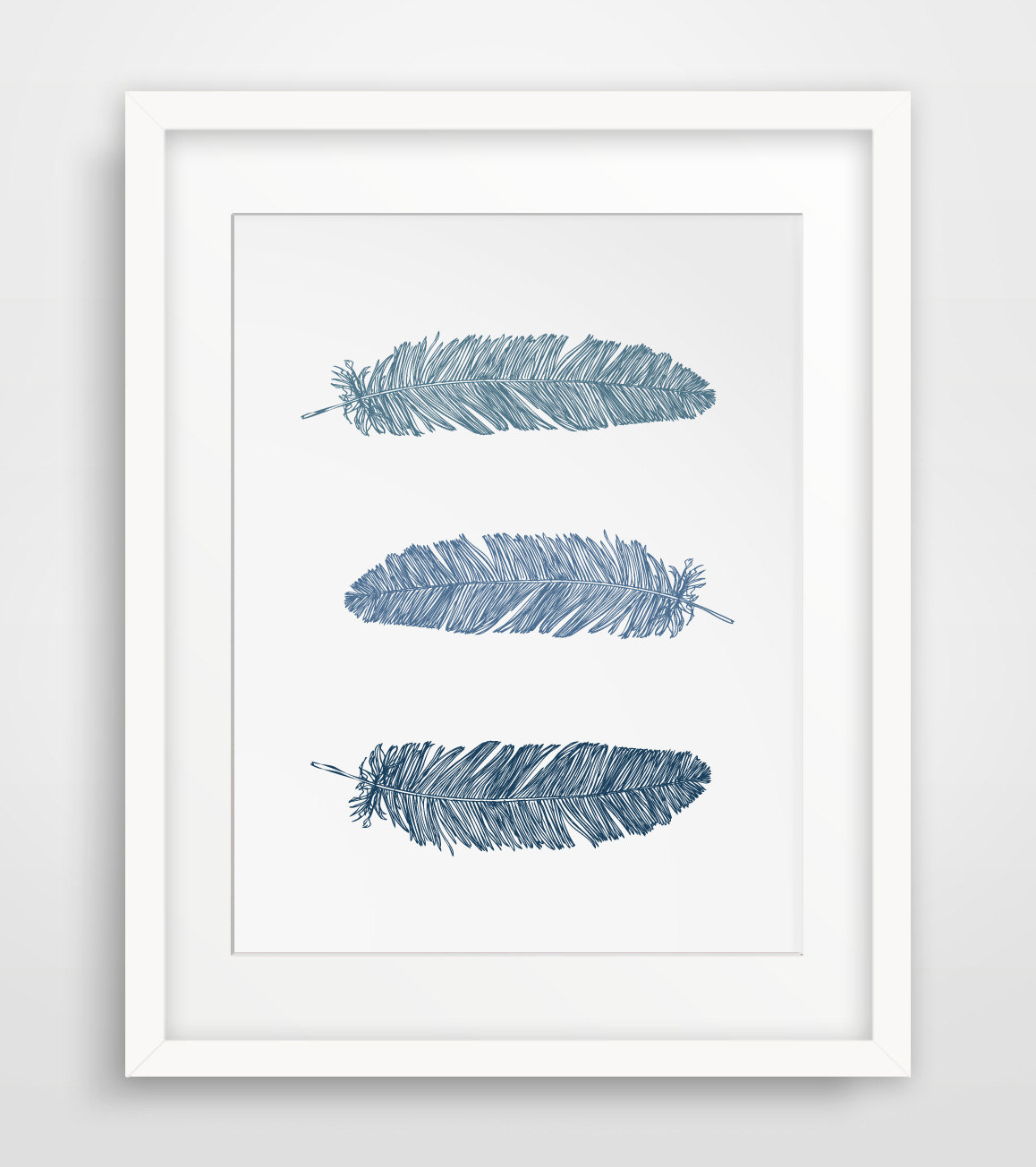 Relatively Wall Art Ideas Design : Navy Blue Feather Wall Art Print Dark  OB99