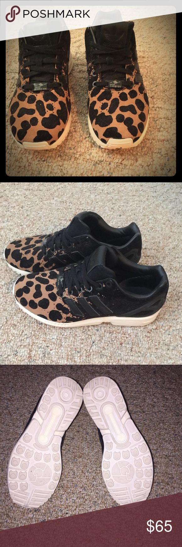 reputable site 166b4 afc30 Adidas ZX Flux leopard print running shoes. Size 8 Adidas running shoes.  Worn once. adidas Shoes Sneakers