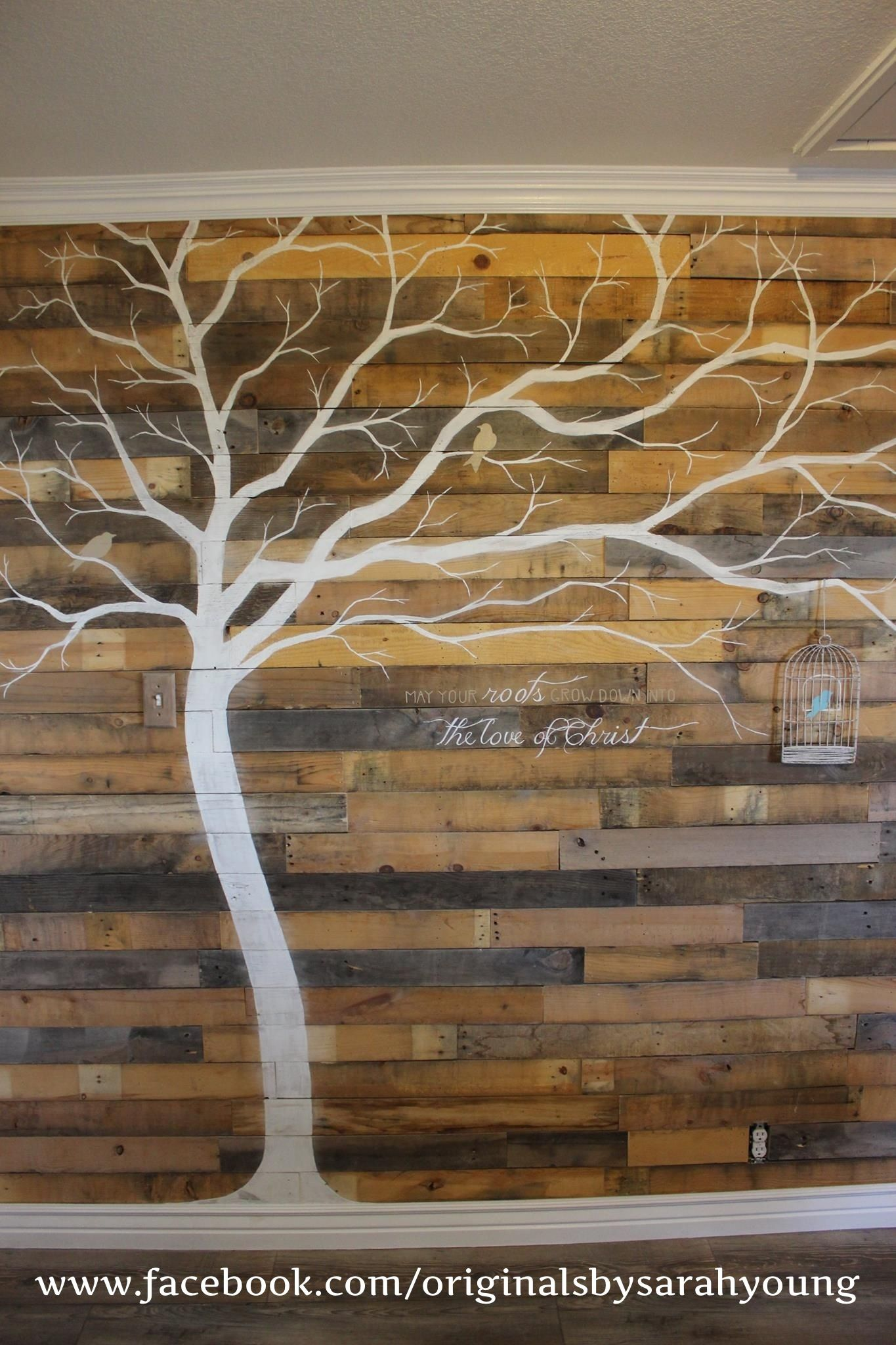 Reclaimed Wood Pallet Wall With Tree Mural And Twine Bird