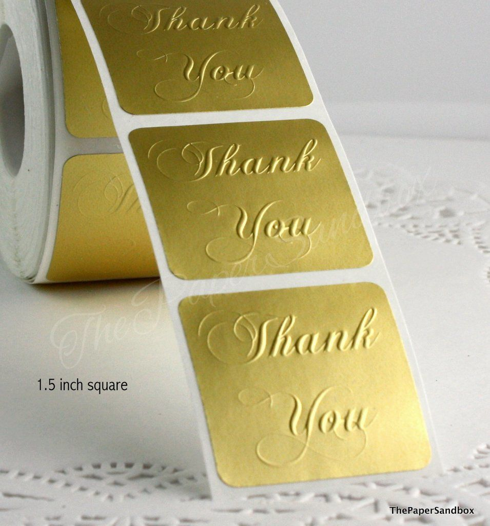Square matte gold thank you seals stickers custom embossed thank