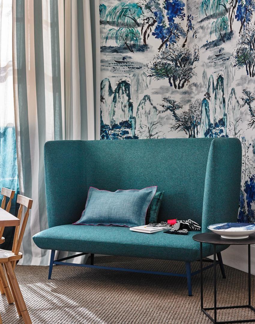 Tree Design Wallpaper Living Room: Modern Teal Living Room With Willow Tree Wallpaper