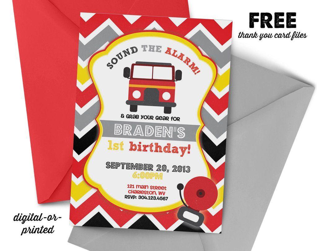 Firetruck Invitation, first birthday party invitation, Fireman ...