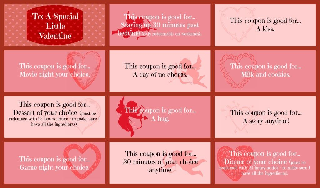 ValentineS Day Coupon Book For That Special Little Someone