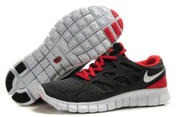 Sale 2012 Nike Free Run+ 2 Men Shoes Black Red discount