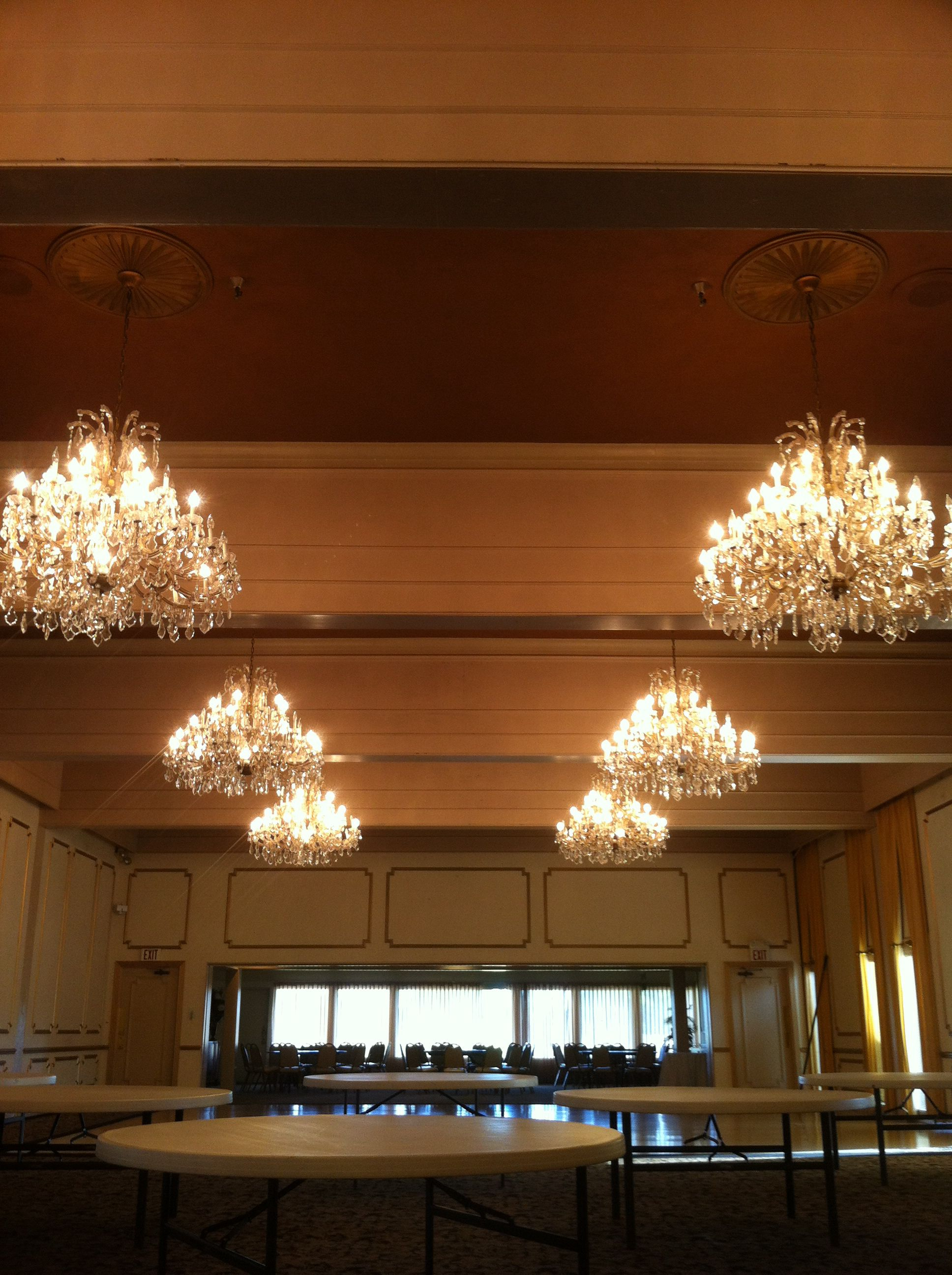 Chandeliers and gold paint, gold borders, ceiling color is dark and ...