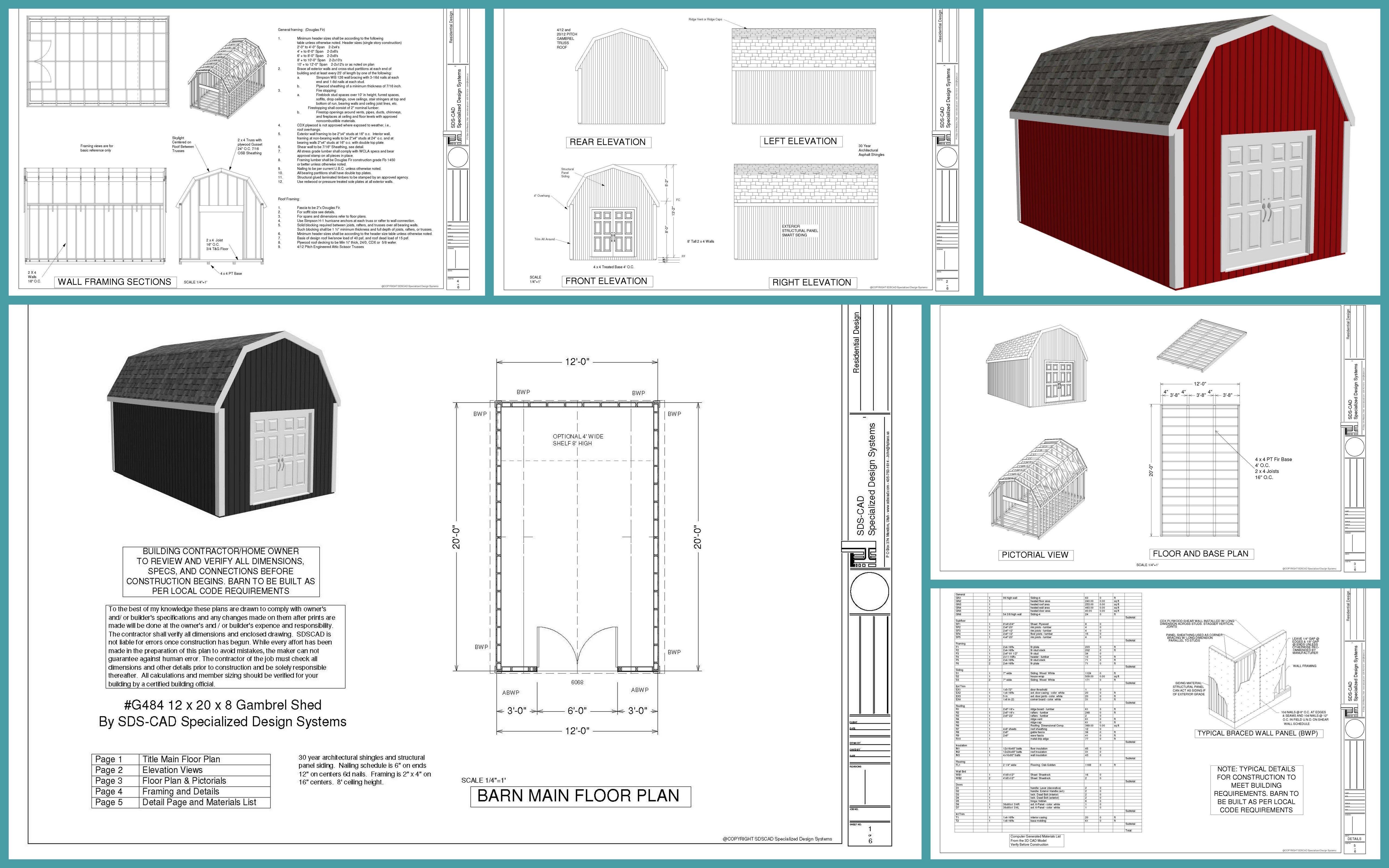 G484 12 X 20 Gambrel Barn Shed Plans Shed Diy Storage