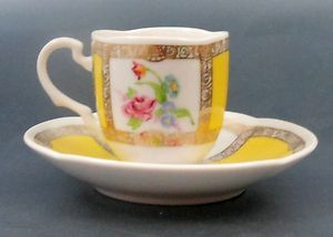 Avon Miniature Demitasse Cup Saucer Yellow Floral European Tradition Rose 1985