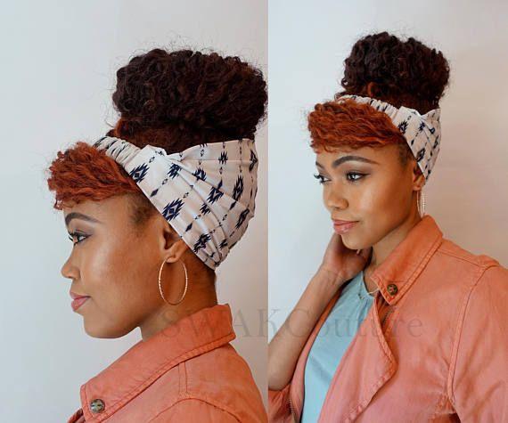 Satin Lined Headband Wide Headband Wrap Pineapple Bun Wrap Ankara African Print Wrap Turban - NNEKA or Choose Print
