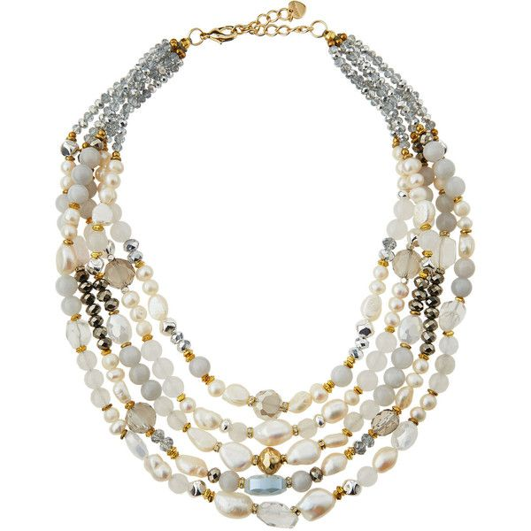 Nakamol Triple-Layered Multicolor Pearl Necklace B8RlTGT