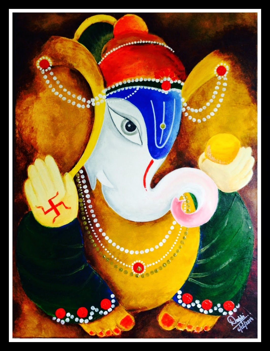 Lord ganesha multi color painting hd image - Canvas Paintings