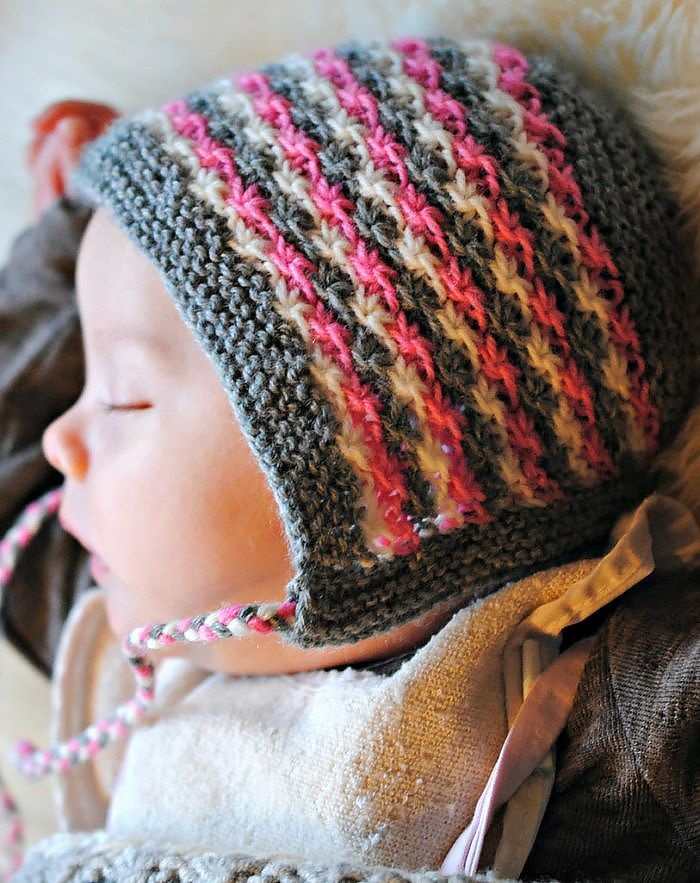 Free Knitting Pattern for Daisy Stitch Baby Bonnet - Stripes of ...
