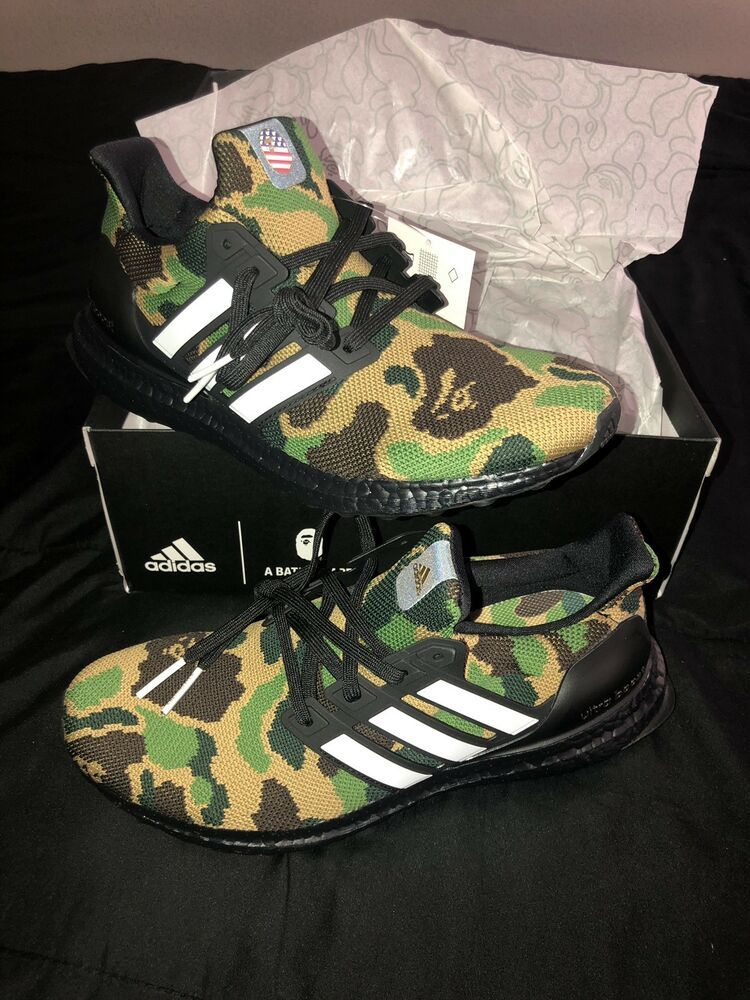 detailed images timeless design fashion styles Bape x Adidas Ultra Boost 4.0 Green Camo Size 8.5 In Hand ...