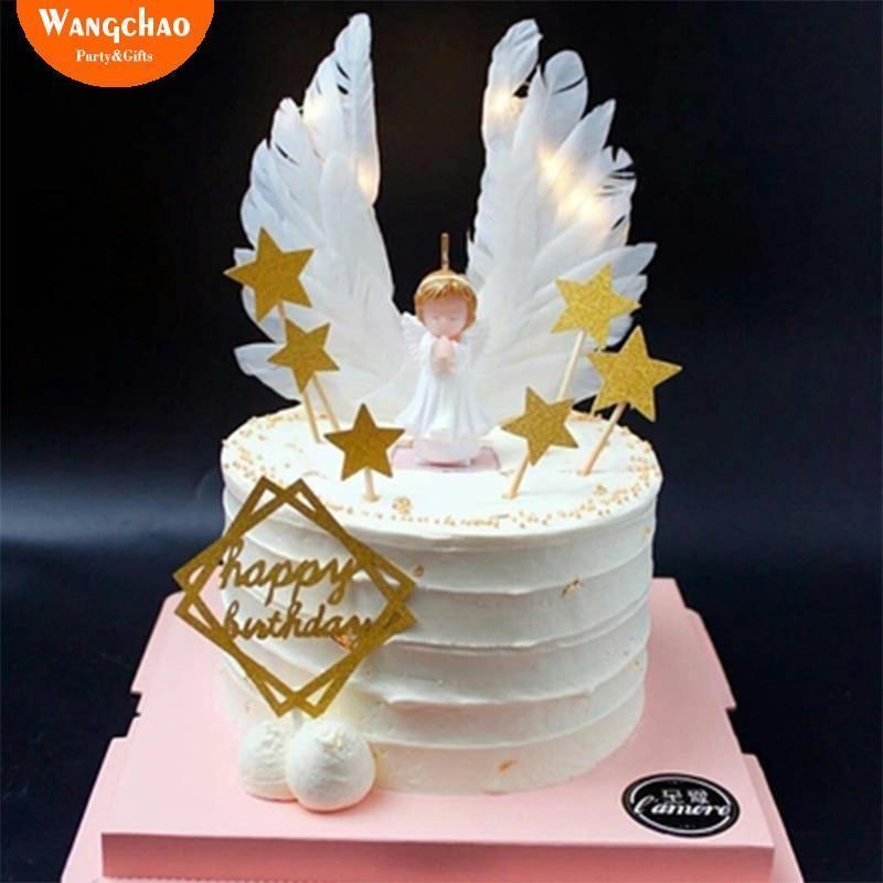 Enjoyable Angel Wings Cake Topper Cake Decoration Angel Happy Birthday Party Funny Birthday Cards Online Alyptdamsfinfo