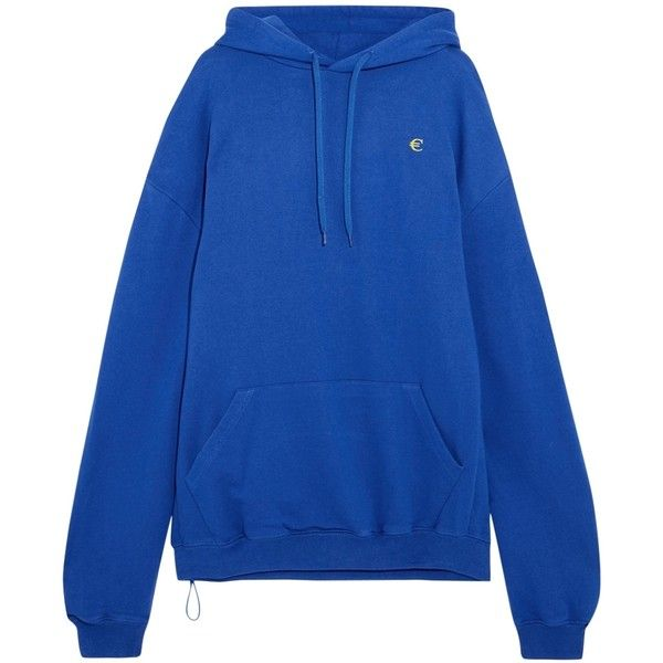 855396d24064 Vetements Blue Euro Print Oversized Hoodie ( 990) ❤ liked on ...