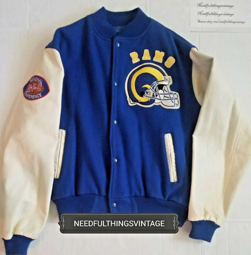 sale retailer 99bd4 cf1a8 Los Angeles Rams Chalk Line Wool Letterman Jacket Large Made ...
