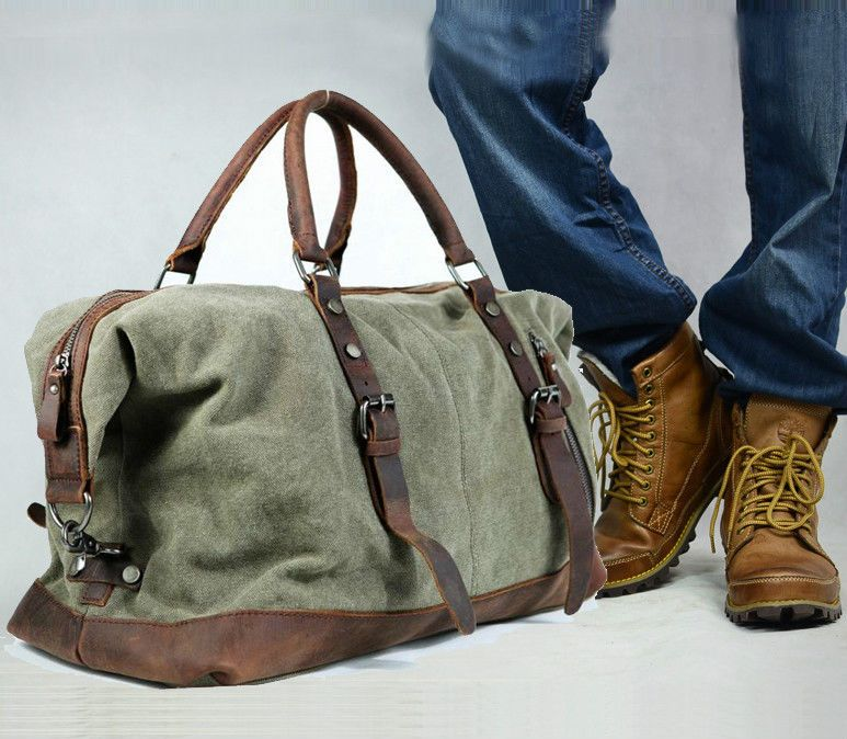 fae27a621311 Vintage Retro Men Genuine Leather canvas duffle weekend bag lightweight  luggage #Unbranded