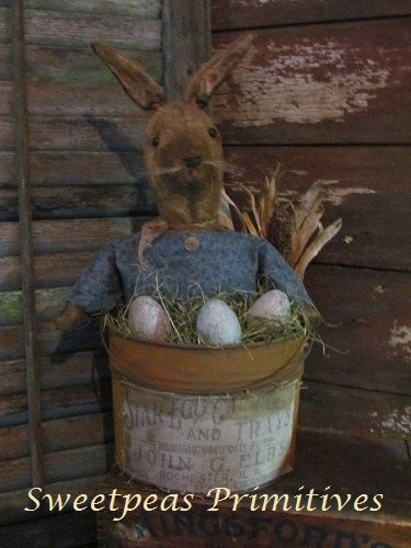 Primitive Early Vintage Style Easter Bunny Rabbit Stump Doll with ...