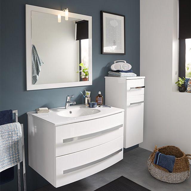 Meuble de salle de bains blanc 80 cm Deliss - CASTORAMA   Deco_salle ...