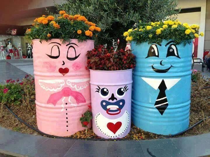 Eco - Tambores Decorados viram Jardineira