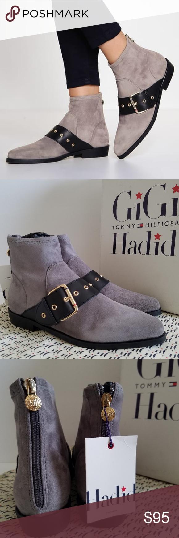 84d8c328bbc8c Tommy Hilfiger GIGI HADID Grey Ankle Flat Boots EUR Size 38 Original Price   179.50 Material