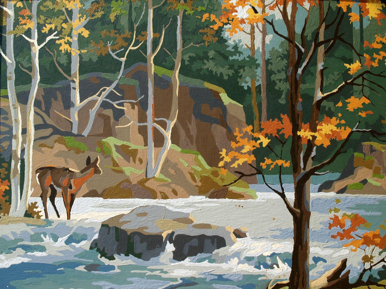 Vintage Woodland Wonderland Big Autumn Scene 1960s Paint By Numbers Art Work Landscape Vintage Paint By Vintage Painting Painting Paint By Number