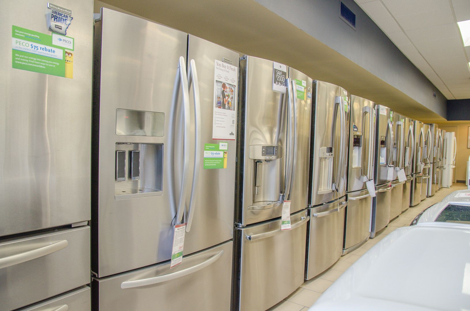 Kitchen Aid French Door Refrigerator Showroom Stainless Steel French Door Top And