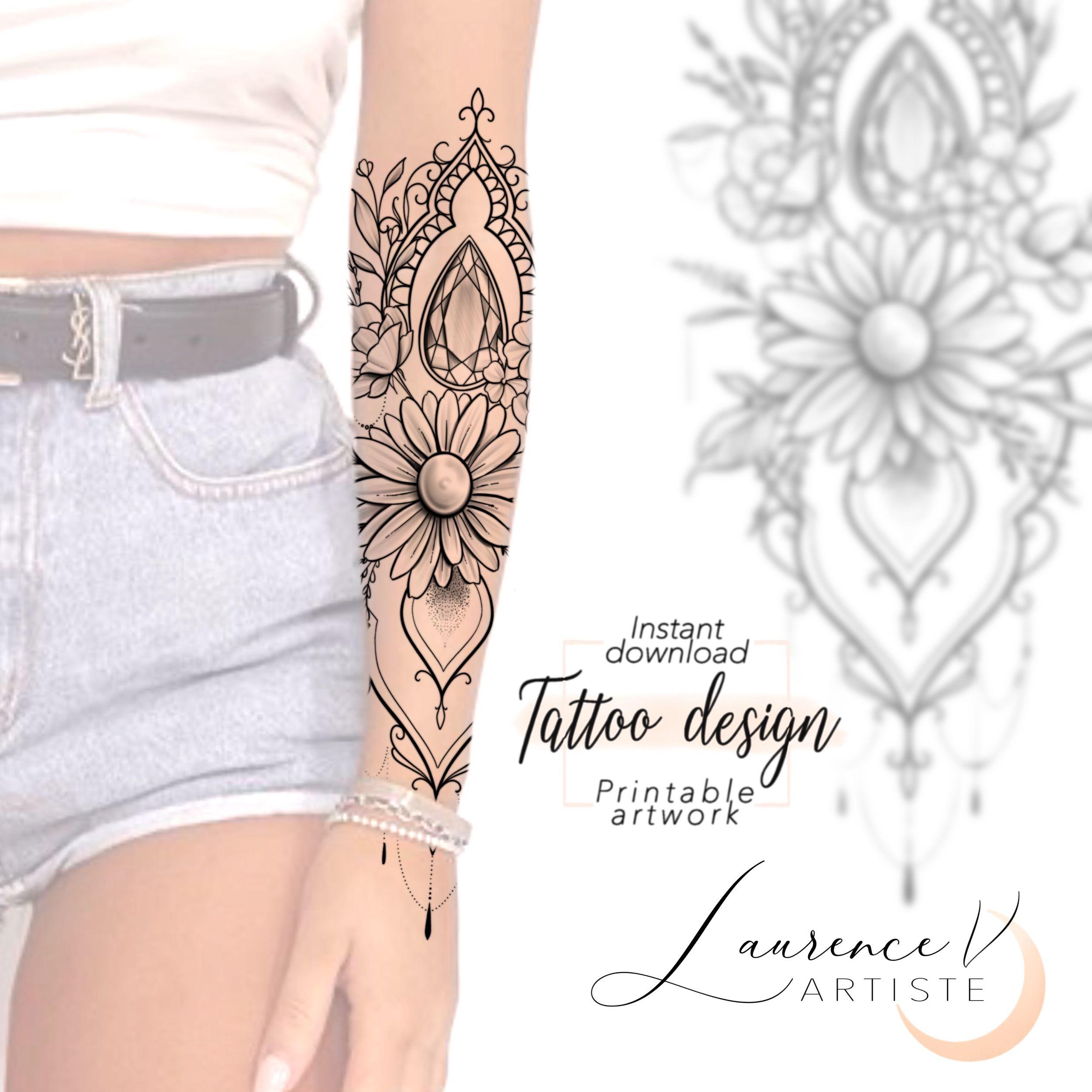 Daisyflower Half Sleeve Tattoo Design On Etsy Laurenceveillx Tattoo Designs Sleeve Tattoos Tattoo Designs For Women
